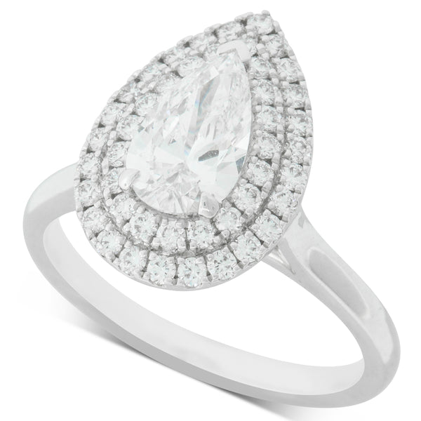 18ct White Gold 1.03ct Diamond Halo Ring - Walker & Hall
