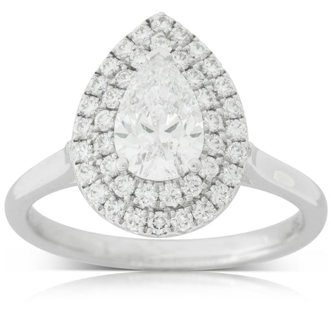 18ct White Gold .90ct Diamond Halo Ring - Walker & Hall