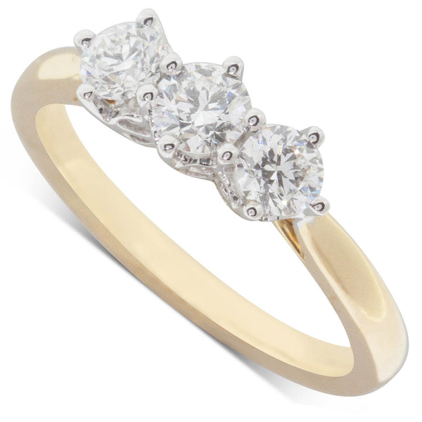 18ct Yellow Gold .74ct Diamond Trilogy Ring - Walker & Hall