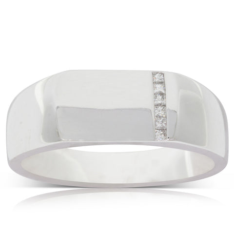 9ct White Gold .07ct Diamond Mens Signet Ring - Walker & Hall