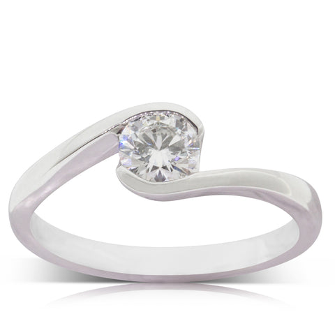 18ct White Gold .50ct Diamond Embrace Ring - Walker & Hall