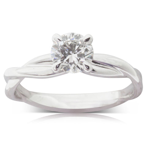 18ct White Gold .83ct Diamond Solitaire Ring - Walker & Hall