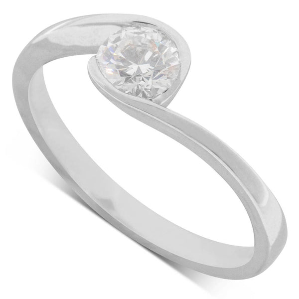 18ct White Gold .33ct Diamond Embrace Ring - Walker & Hall
