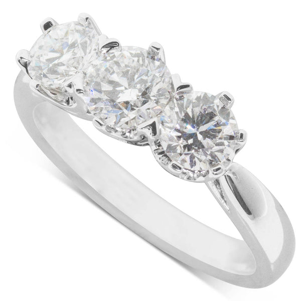18ct White gold 1.70ct Diamond Trilogy Ring - Walker & Hall