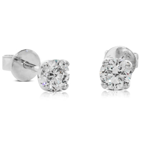 18ct White Gold 1.00ct Diamond Blossom Stud Earrings - Walker & Hall