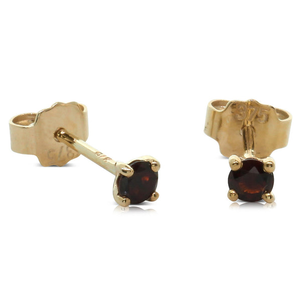 9ct Yellow Gold Garnet Studs - Walker & Hall