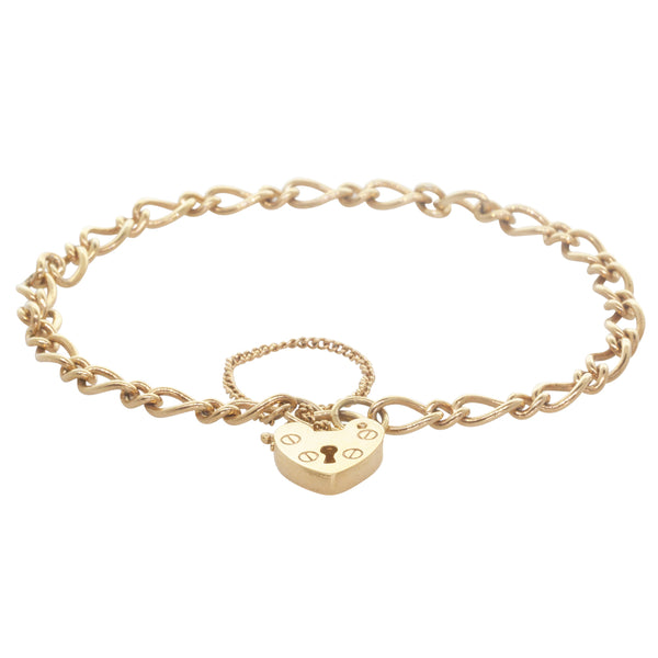 9ct Yellow Gold Bracelet With Heart Padlock Clasp - Walker & Hall