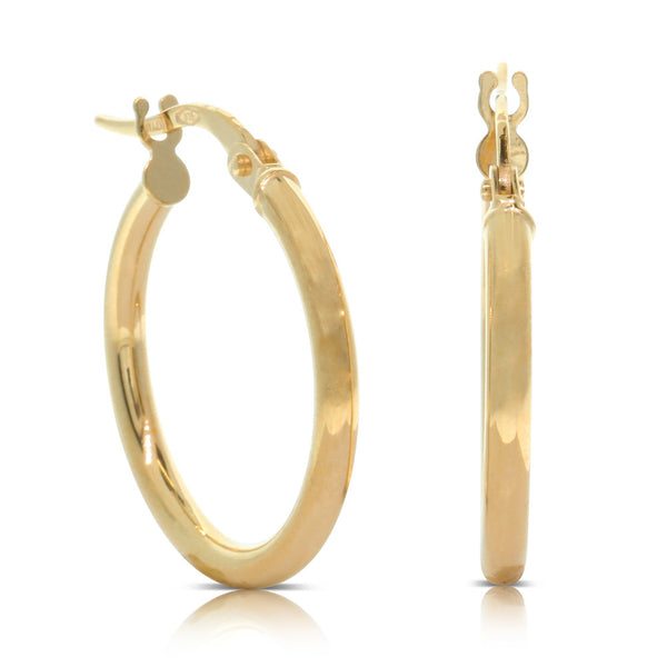 9ct  Yellow Gold 15mm Classic Hoops