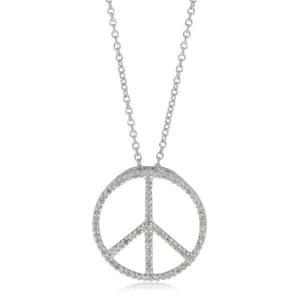 9ct White Gold Diamond Set Peace Necklace - Walker & Hall