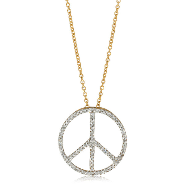9ct Yellow Gold Diamond Set Peace Necklace - Walker & Hall