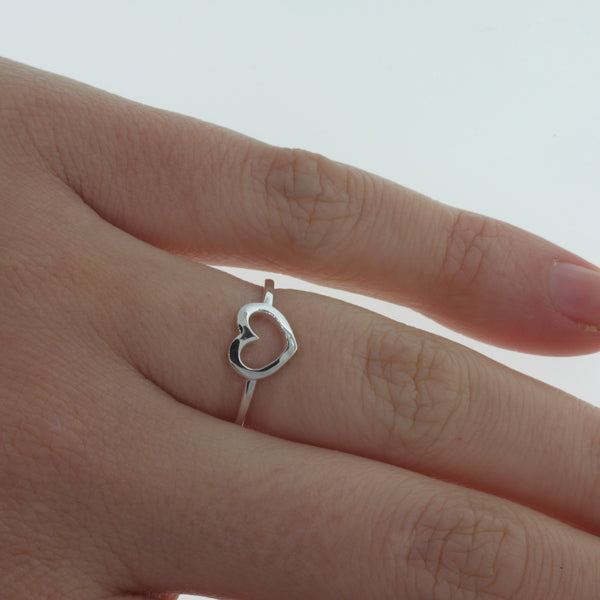 Karen Walker Mini Heart Ring - Sterling Silver