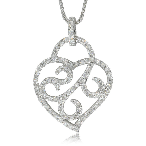 18ct White Gold And Diamond Heart Pendant - Walker & Hall