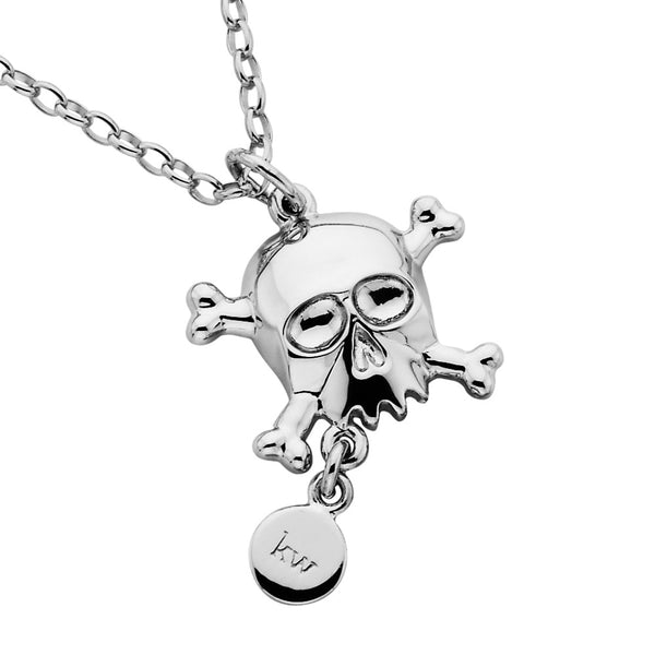 Karen Walker Skull And Tag Necklace - Sterling Silver