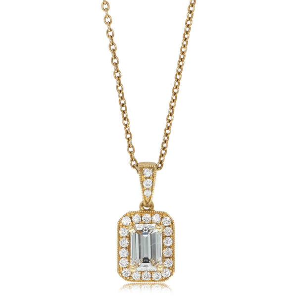 18ct Yellow Gold Emerald Cut Diamond Pendant - Walker & Hall