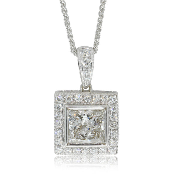 18ct White Gold 1.77ct Princess Cut Diamond Pendant - Walker & Hall