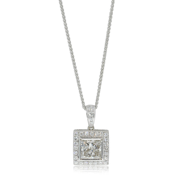 18ct White Gold 1.77ct Princess Cut Diamond Pendant