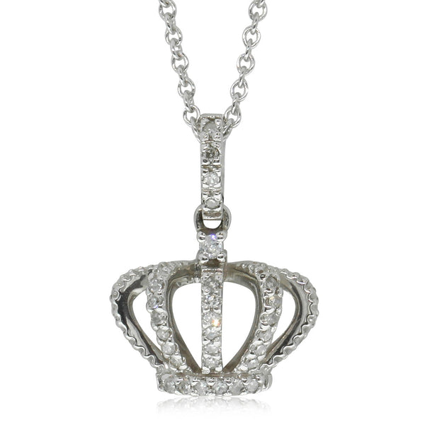 9ct White Gold Diamond Crown Pendant - Walker & Hall
