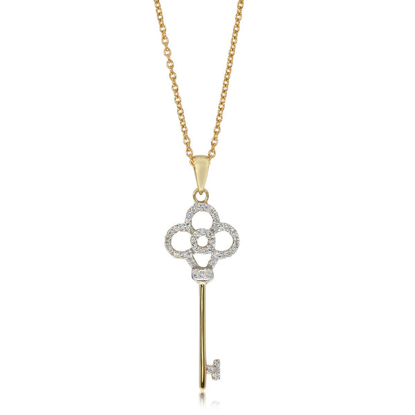 9ct Yellow Gold & Diamond Key Of Love Pendant - Walker & Hall