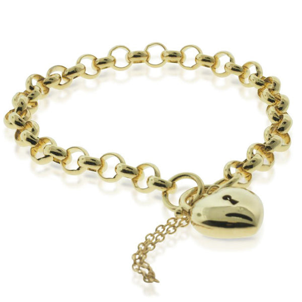 9ct Yellow Gold Belcher Bracelet With Heart Clasp - Walker & Hall