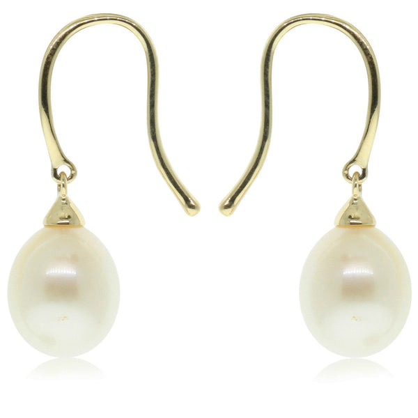 9ct Yellow Gold Freshwater Pearl Drop Earrings