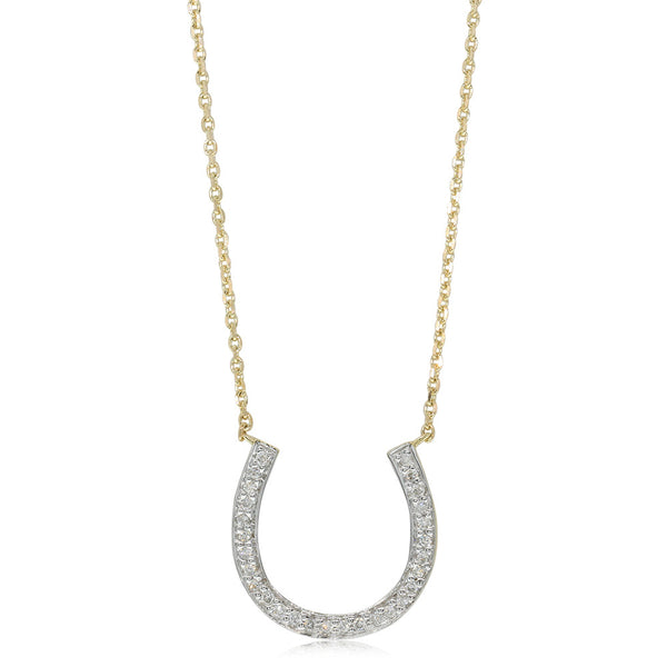 9ct Yellow Gold .11ct Diamond Lucky Horseshoe Pendant - Walker & Hall