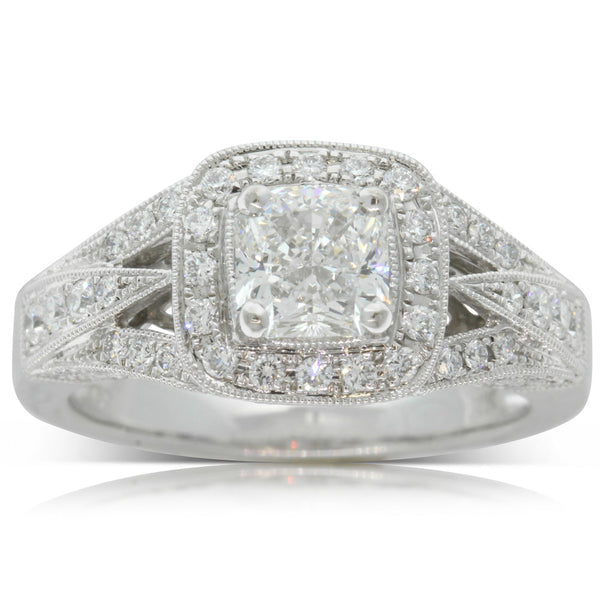 18ct White Gold 1.06ct Radiant Cut Diamond Ring - Walker & Hall