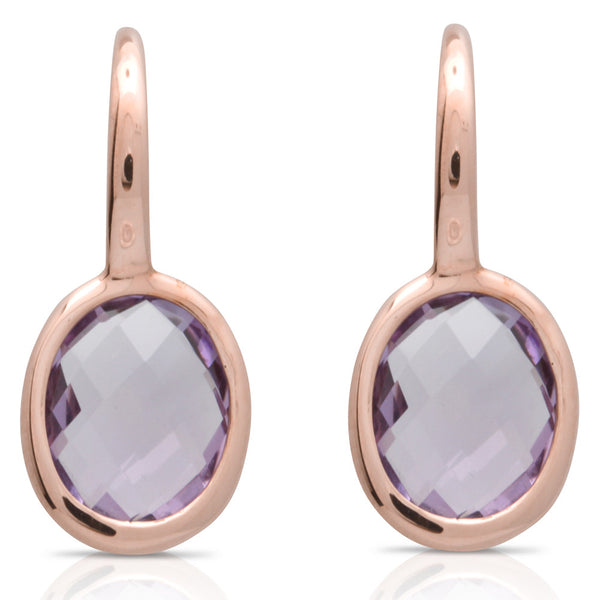 9ct Rose Gold Amethyst Oval Drop Earrings