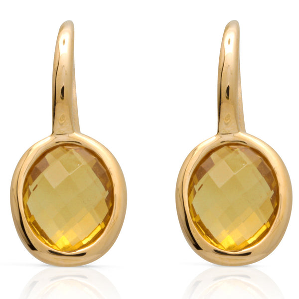9ct Yellow Gold Citrine Oval Drop Earrings - Walker & Hall