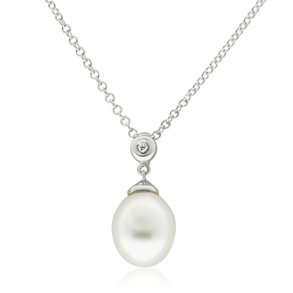 9ct White Gold Diamond And White Pearl Pendant