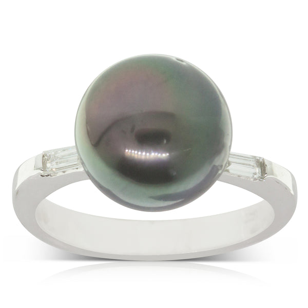 18ct White Gold Cultured Black Pearl & Diamond Ring - Walker & Hall