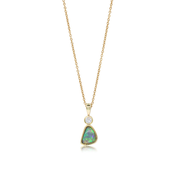 18ct Yellow Gold Opal & Diamond Pendant