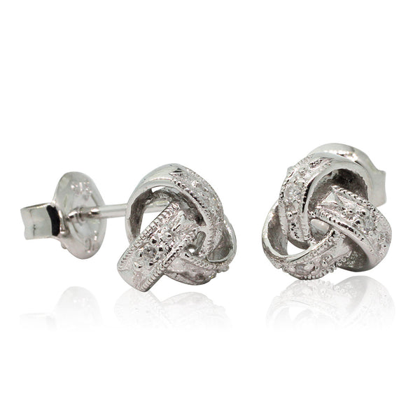 9ct White Gold And Diamond Knot Studs - Walker & Hall