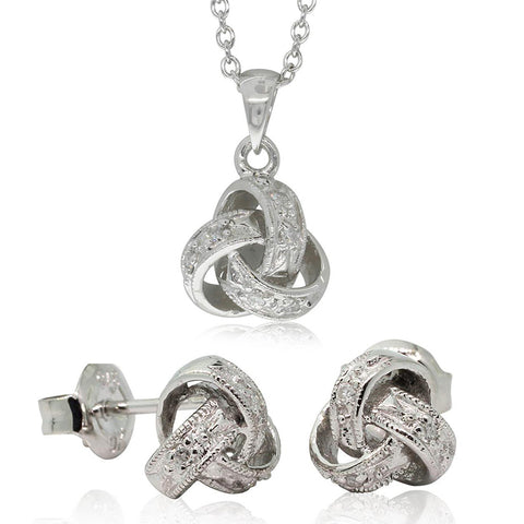 Gift Set - 9ct White Gold Diamond Forget Me Knot Pendant & Earrings - Walker & Hall