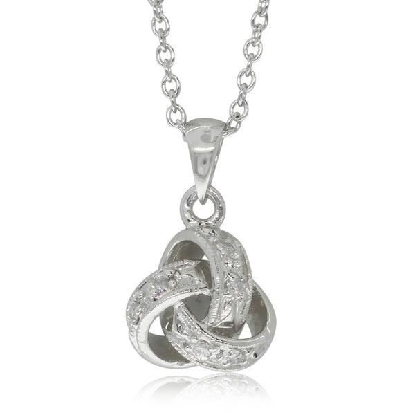 9ct White Gold Diamond Forget Me Knot Pendant - Walker & Hall