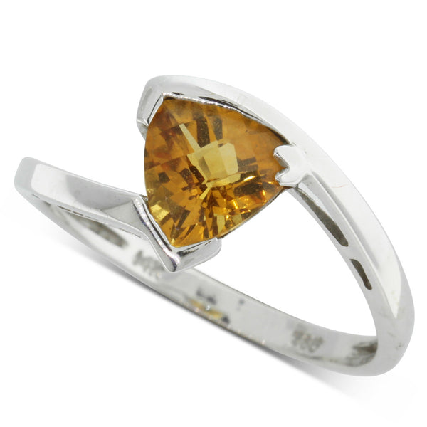 14ct White Gold Yellow Beryl Dress Ring - Walker & Hall