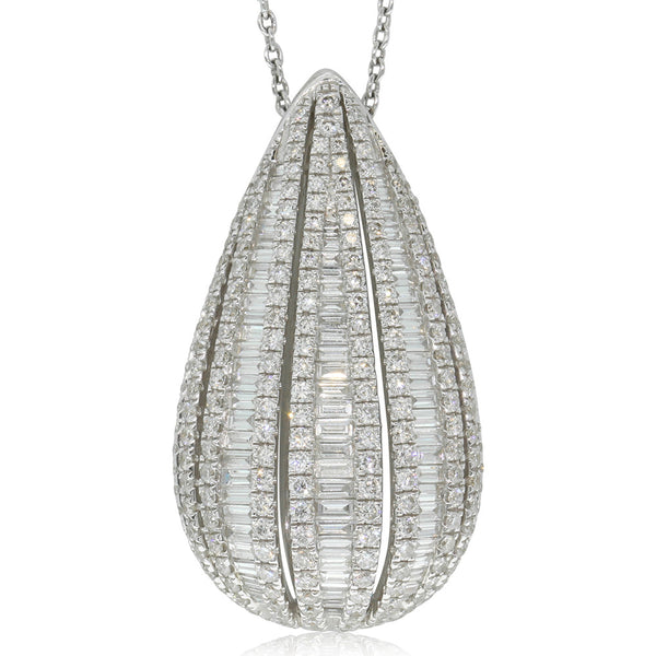 18ct White Gold Round And Baguette Diamond Pendant - Walker & Hall