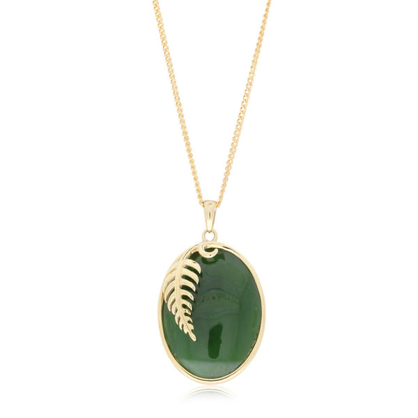 9ct Yellow Gold Greenstone Fern Pendant - Walker & Hall
