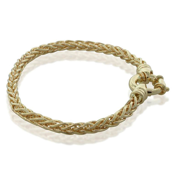 9ct Yellow Gold Wheat Link Bracelet With Bolt Clasp - Walker & Hall