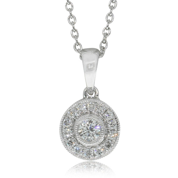 18ct White Gold .20ct Diamond Halo Pendant - Walker & Hall