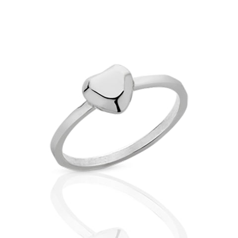Meadowlark Heart Stacker Ring - Sterling Silver - Walker & Hall