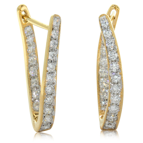 18ct Yellow Gold Diamond Hoop Earrings - Walker & Hall