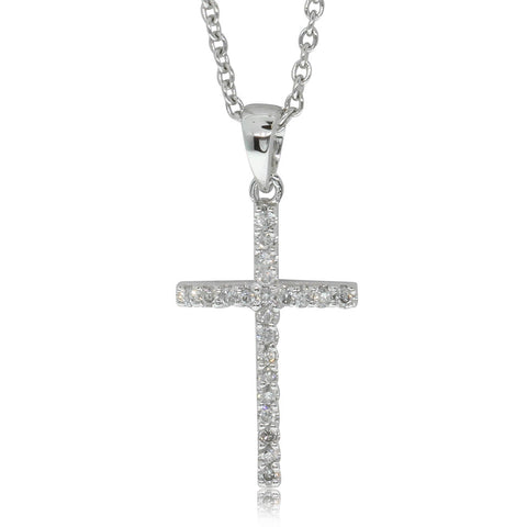 9ct White Gold Diamond Cross Pendant - Walker & Hall