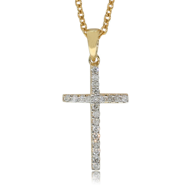 9ct Yellow Gold Diamond Cross Pendant - Walker & Hall