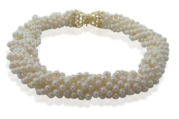 Cultured Pearl Multi Strand Necklace With 14ct Yellow Gold Clasp - Walker & Hall