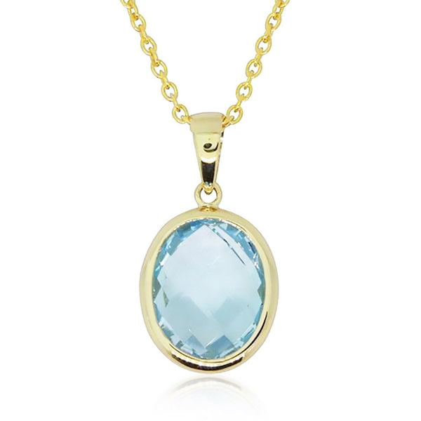 9ct Yellow Gold Blue Topaz Oval Pendant - Walker & Hall