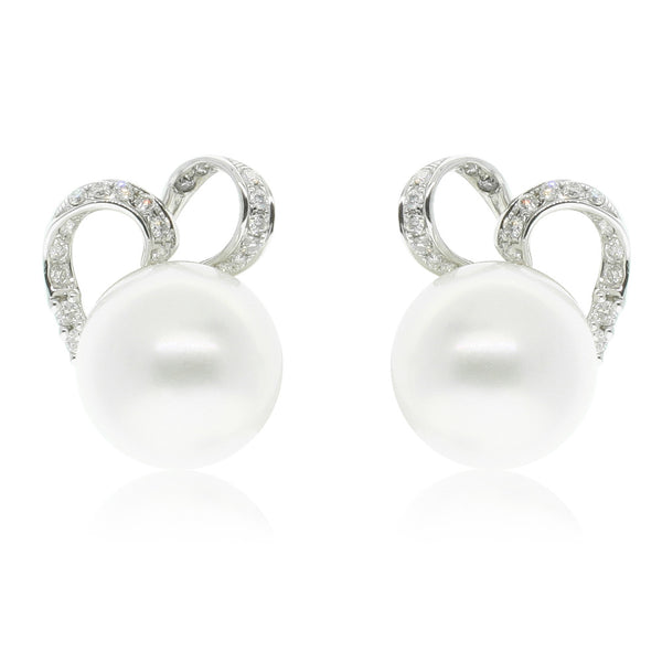 18ct White Gold South Sea Pearl & Diamond Earrings - Walker & Hall