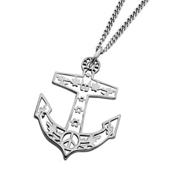 Karen Walker Filigree Anchor Necklace - Sterling Silver