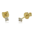 18ct Yellow Gold .10ct Claw Set Diamond Studs - Walker & Hall