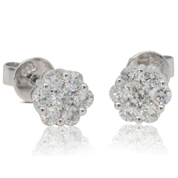 18ct White Gold .30ct Diamond Cluster Studs