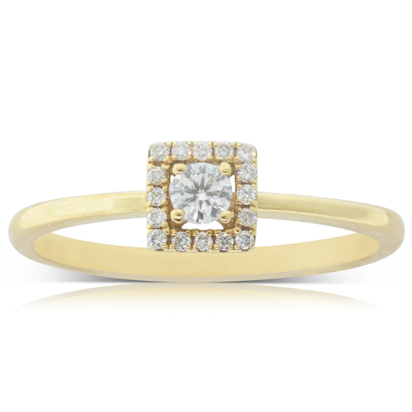18ct Yellow Gold .10ct Round Brilliant Cut Diamond Ring - Walker & Hall